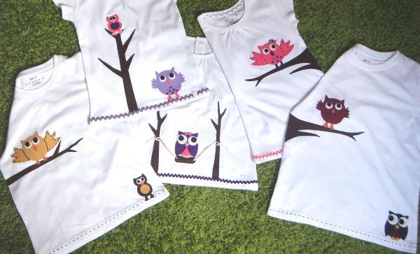 Camisetas colección búhos